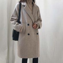 Outono inverno moda feminina casacos casuais casacos de manga longa peacoats outwear feminino elegante lã duplo breasted wdc1891