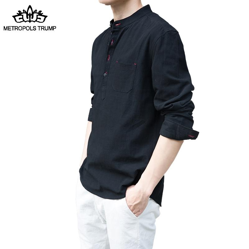 Új férfiak márka tavaszi őszi jellemzők ingek 100% pamut alkalmi ... e7f9034e4c