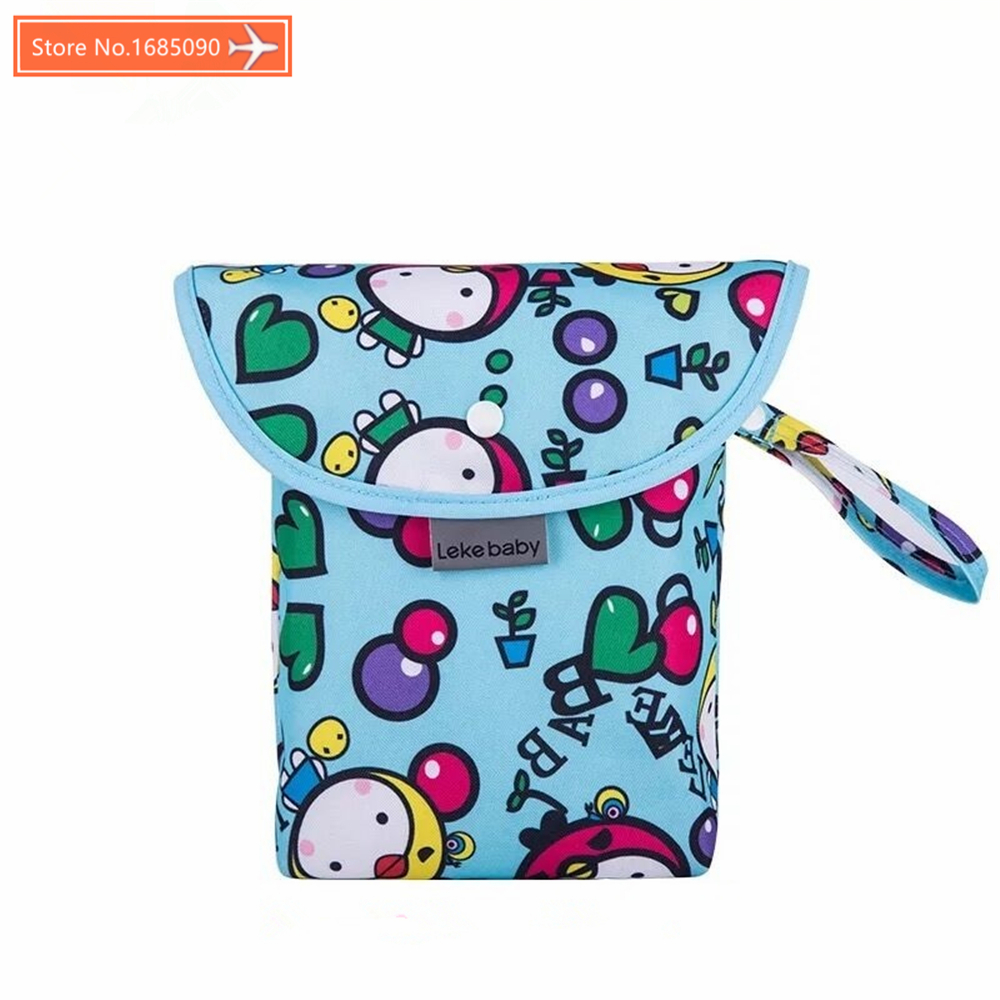 Baby Diaper Bags Printed Double Zippered Wet/Dry Bag Waterproof Wet Cloth Diaper Backpack Reusable Diaper Cover WetBag LEKEBABY