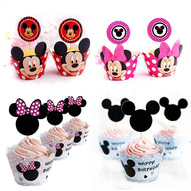 24pcs Cartoon Mickey Minnie Mouse Cupcake Wrappers Toppers pick Kids