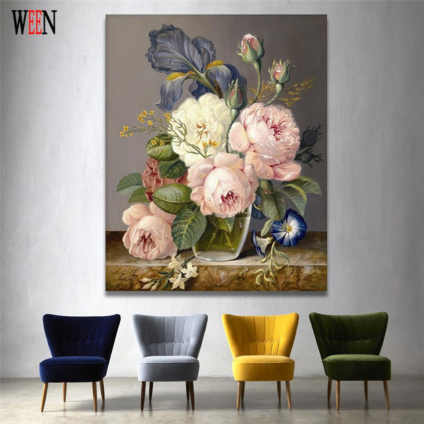 WEEN Digital Elegant Flower Painting by Numbers DIY Wall Oil Painting Coloring Cuadros Decoracion Pictures Acrylic Canvas Art in Painting Calligraphy from Home Garden