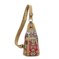 New Casual Canvas Printing Korea Style Fashion National Floral Women's Chest Bag Pack Messenger Shoulder Woman Crossbody Handbag