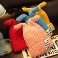 1 pc o novo cap orelha de coelho de tricô criança, outono E Inverno Carta Criança Chapéu de Lã Rotulagem,