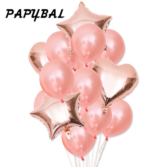 Rose Gold Heart Star Balloon Happy Birthday Balloons Wedding Party Decor Latex Ballon Baby Shower Birthday Party Decorations