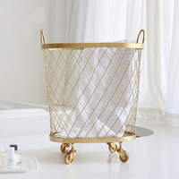 gold metal Nordic Modern Magazine Newpaper Storage laundry Basket Barrel Vintage Industrial Style Metal Wire Holder