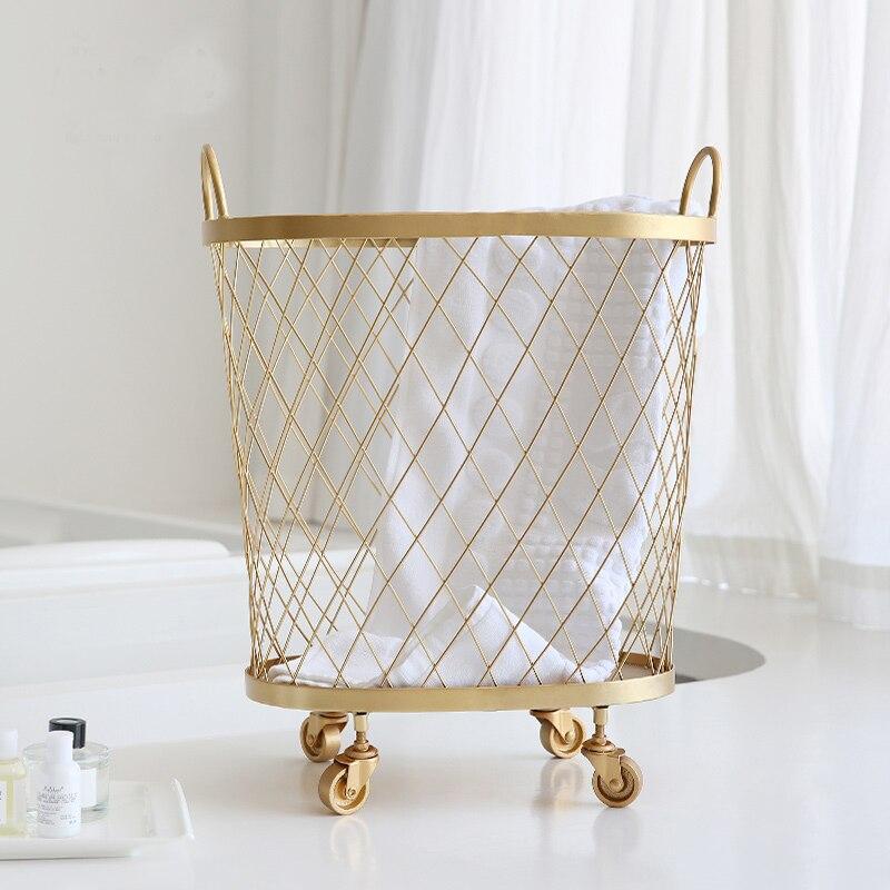 gold metal Nordic Modern Magazine Newpaper Storage laundry Basket Barrel Vintage Industrial Style Metal Wire Holder