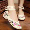 2016 new Ethnic Embroidery shoes Chinese old Beijing national floral embroidered dance soft canvas dancing shoes 34-41