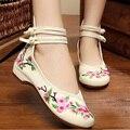 2016 nuevos zapatos Del Bordado Étnico Chino viejo Beijing nacional floral bordado lienzo de baile zapatos de baile suave 34-41