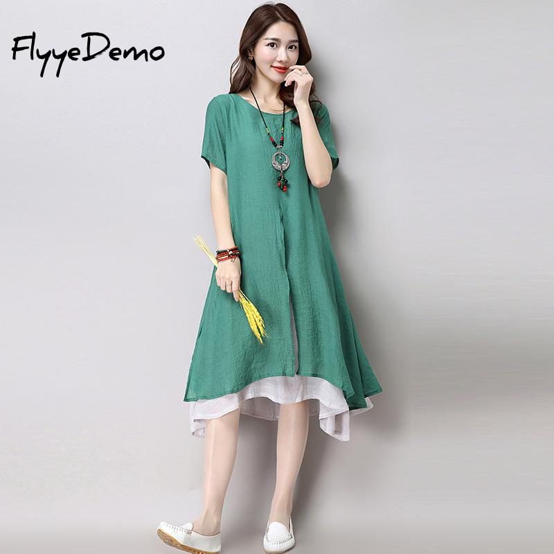 Two Layers Casual Women Dress 2019 Spring Wear Vintage Loose Chiffon Dress Side Slit Dress Chinese Style Ethnic Dresses