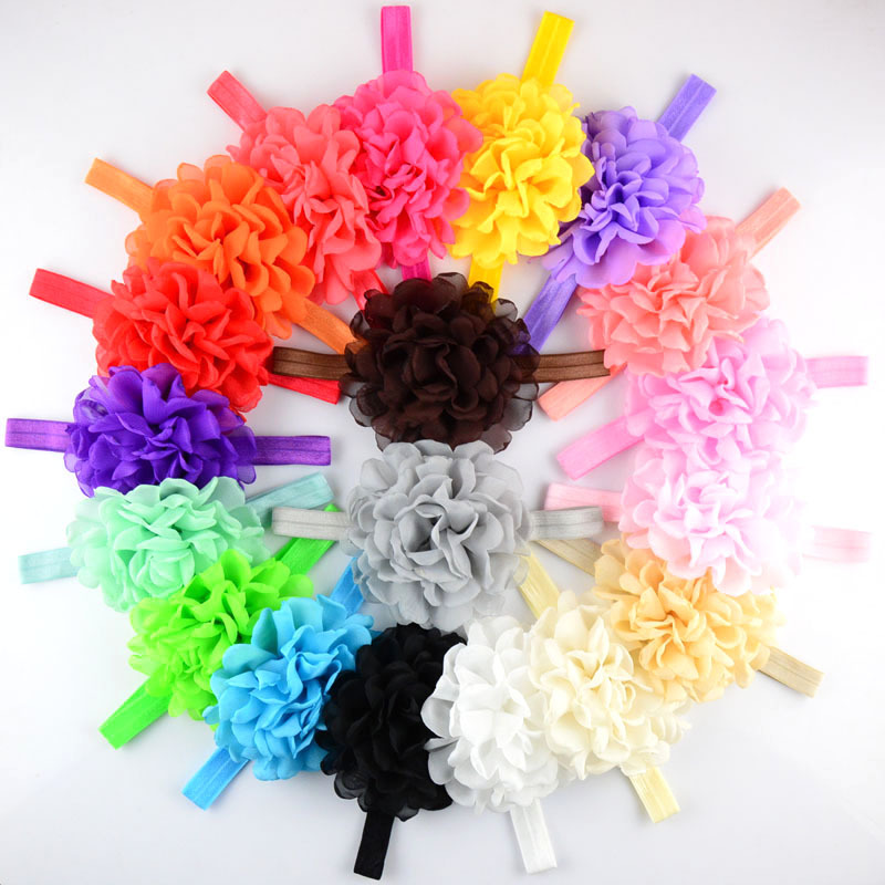 20pcs/lot Handmade Burned Flowers Headbands For Girls Singed flowers Wedding Chiffon Flo ...