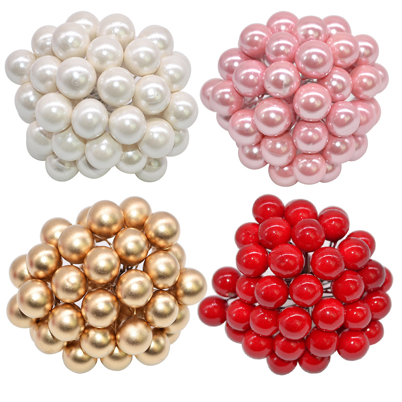 50Pcs lot Mini Artificial Flower Fruit Stamens Cherry Christmas Plastic Pearl Berries for Wedding DIY Gift Box Decorated Wreaths in Artificial Dried Flowers from Home Garden