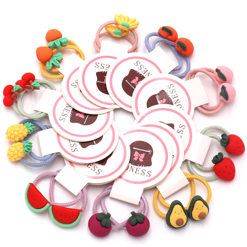 2Pcs/Lot New Kids Cartoon Hair Accessories Girls 3cm Fruit Ponytail Holder Rubber Band Children Gum For Hair Scrunchies   Headwear