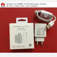 Original for HUAWEI Supercharge EU charger adapter + 5A USB Type-c cable for HUAWEI mate 9 10 pro,P10 plus with retail package(China)