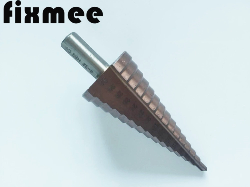 HSS CO M35 Triangle Shank 4-32MM Straight Groove Broca Metal Step Cone Drill Bit Stainless Steel Hole Saw Cutter Wood Power Tool jelbo drill step drill metal 4 12 20 32mm step cone coated metal drill bit cut tool set hole saw cutter power tools 3pc