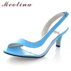 Image 4 - Meotina Shoes Women Sandals Summer Ladies Sandals Transparent Neon Low Heels Designer shoes High Heels Yellow Big size 11 12 46