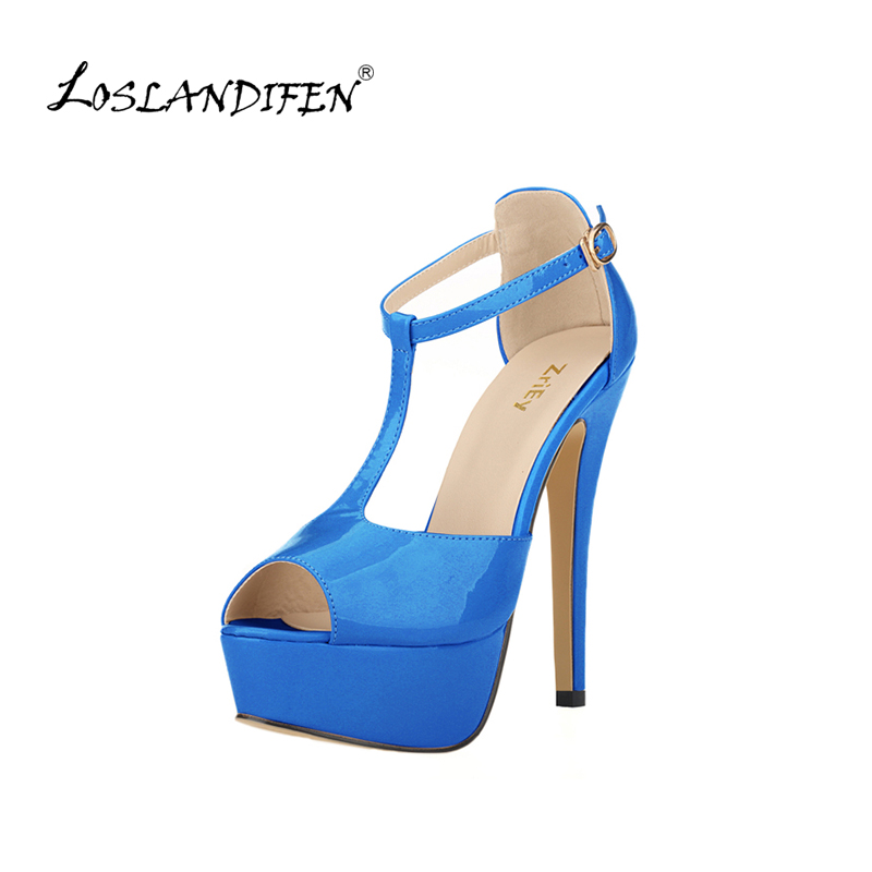 Women Platform High Heel Sandals Sexy Peep Toe Ankle Strap Stilettos Women Pumps T-Strap Party Wedding Shoes 817-19PA stylish women s sandals with t strap and peep toe design