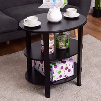 Giantex 3 Tier Oval End Table Living Room Accent Coffee Table Modern Storage Display Shelf Black