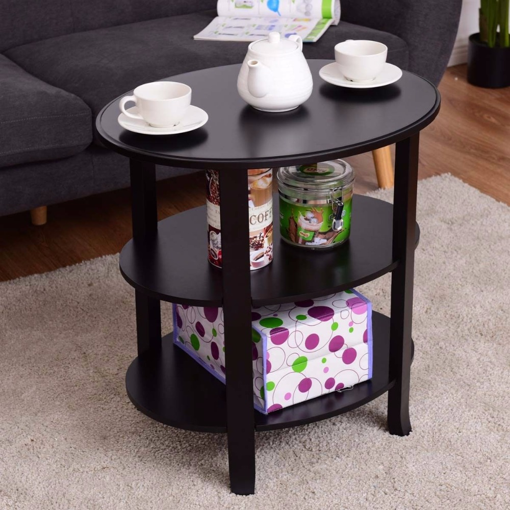 Giantex 3-Tier Oval End Table Living Room Accent Coffee Table Modern Storage Display Shelf Black Wood Coffee Tables HW56632 solid pine wood folding round table 90cm natural cherry finish living room furniture modern large low round coffee table design