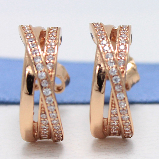 Rockart Real 925 Sterling Silver Entwined Half Hoop Earrings With Clear Cz Gold Color For Women