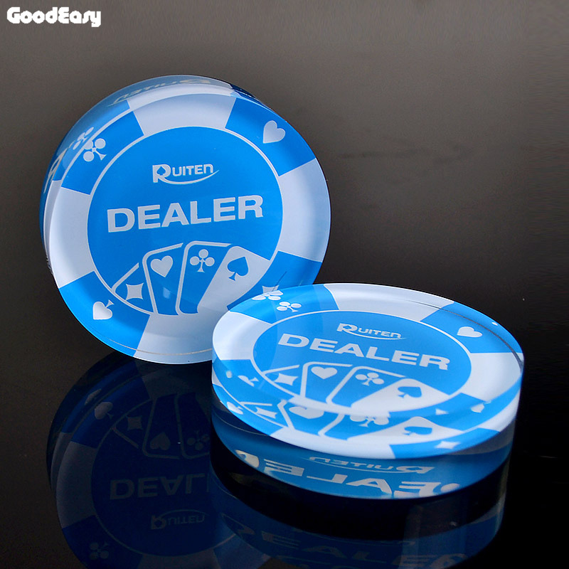 HOT SALE 1PCS Acrylic Dealer Button Texas Hold'em 3inch Pressing Poker Cards Guard Poker Dealer Button-Blue Dealer