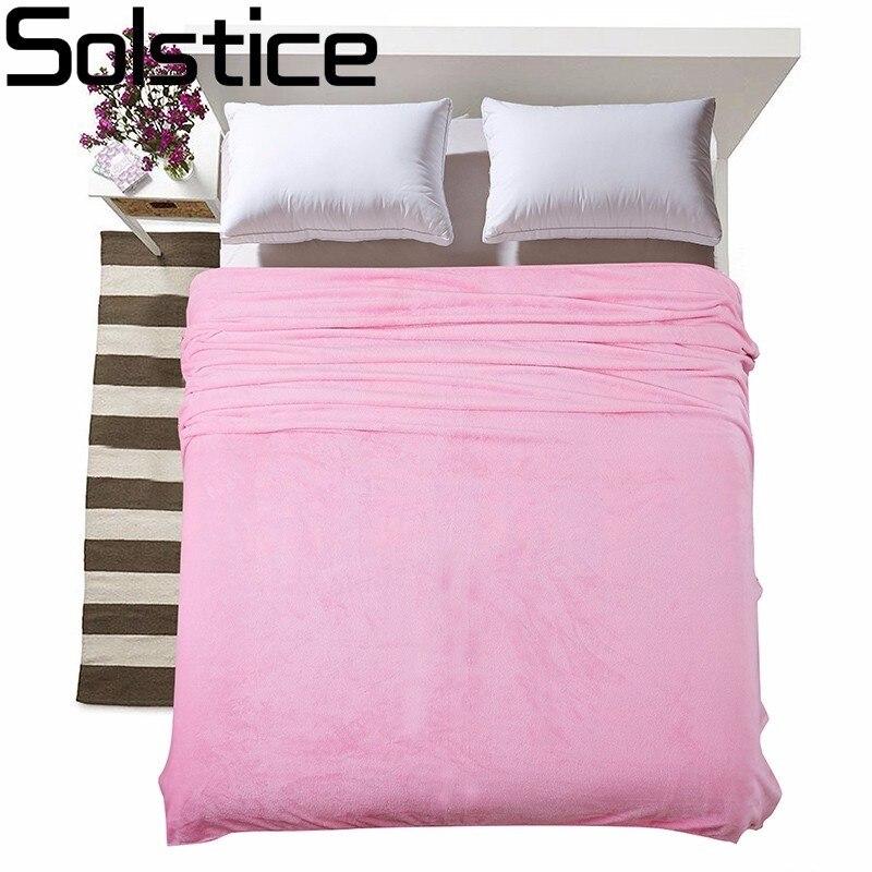 Solstice D'été Section Mince Doux Et Confortable Pur Couleur Flanelle Couverture Jeter Sur Canapé/lit/Voyage Plaids Couvre-lits feuilles
