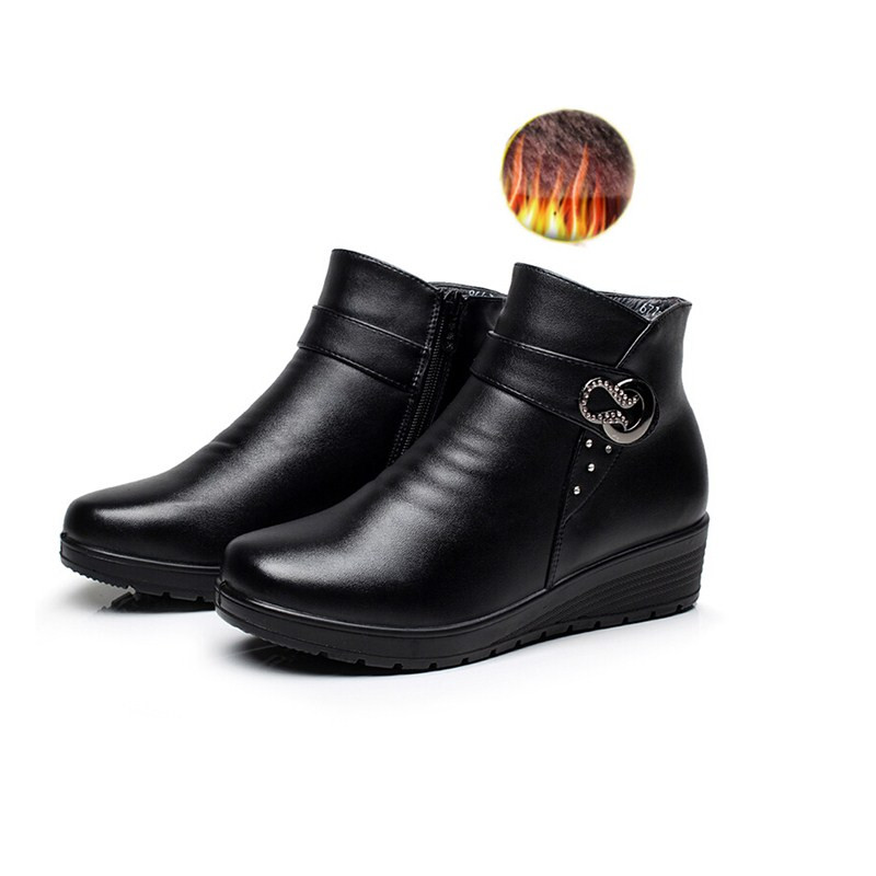Snow Boots 2016 Winter Brand Warm Women Ankel Boots Mother Casual Shoes Cotton Winter Autumn Boots Female Zipper Boots