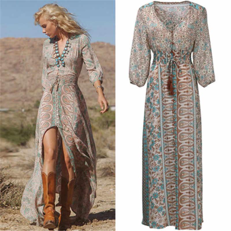 Mujeres Prairie Chic Vestido Mujer verano Boho chifón fiesta noche playa vestidos largo vestido de verano Maxi