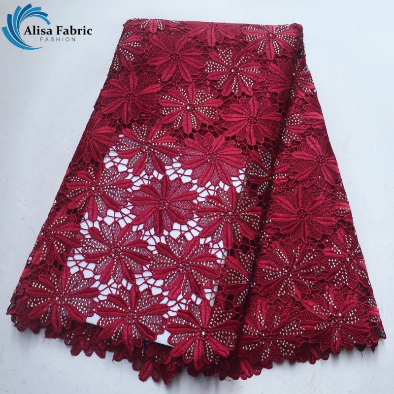 Alisa African Lace Fabric Flower Embroidered African Water Soluble lace fabric With Stones For women party