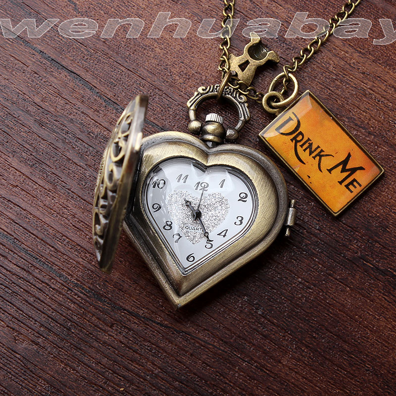 DRINK ME Alice in Wonderland Mini Heart Shape Quartz Pocket Watch with Necklace Chain Pendent Women Girl Gifts Relogio De Bolso new steam punk skull pocket watch quartz movement for watch hanging chain pendant necklace watch relogio de bolso