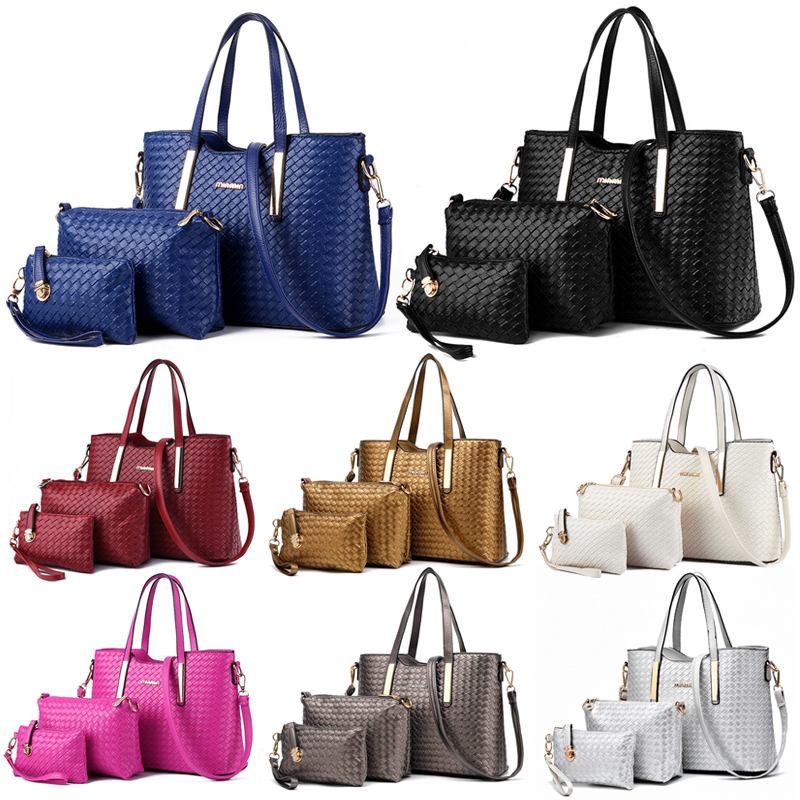 Women's Bags Top-handle Bags Genteel 3pcs/set Fashion Composite Bag Womens Handbags Leather Casual Shoulder Crossbody Messenger Bag Totes Hobo Purse Delicacies Loved By All