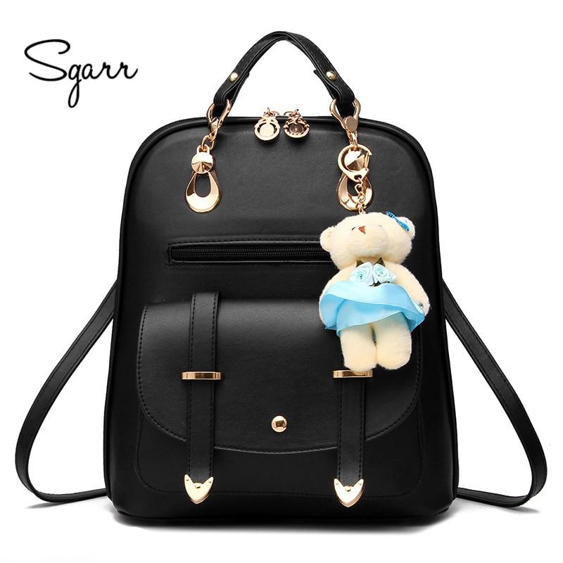 SGARR Brand Fashion Women Backpack For Girls School Bags Black High Quality Waterproof Students Backpacks Women
