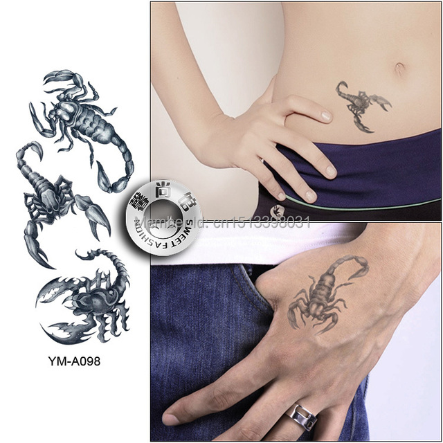 Free Shipping Scorpion Tattoo Sticker Waterproof Sexy Wrist Arm Lower Shoulder Temporary Tattoos -7649