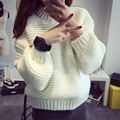 Women 2015  Sweater Thick Coarse Wool Knitted Tops Fashion Casual For Autumn Winter Knitted Pullover B303