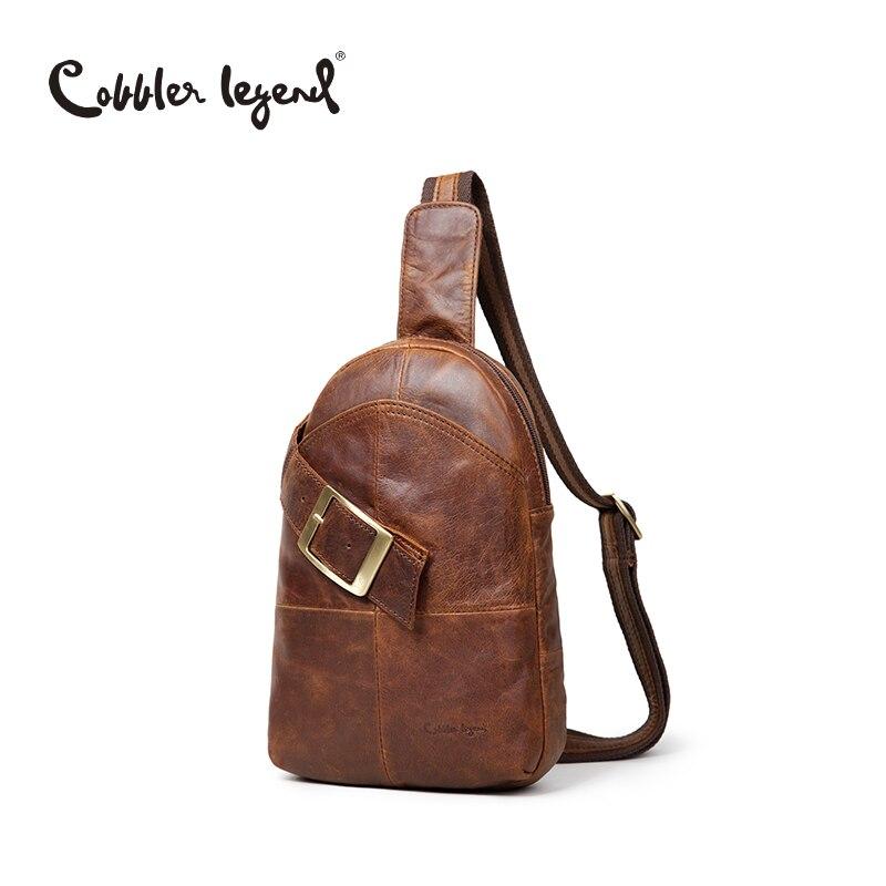ФОТО Cobbler Legend Original Genuine Leather Chest Pack Brand Designer Casual Men's Messenger Bags Small Shoulder Bags bolsos For Men