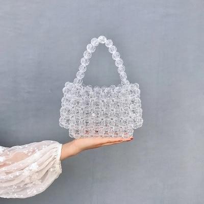 Créateur de mode perles gelée sac Transparent pochette sac Transparent bandoulière messagers femmes cristal sac à main pochette sac de soirée-in Sacs à poignées supérieures from Baggages et sacs    1