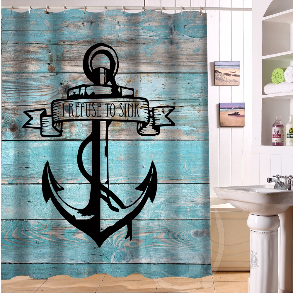 Anchor bathroom decor - H P032 Wood And Anchor 22 Custom Shower Curtain Bathroom Decor Various Sizes Free