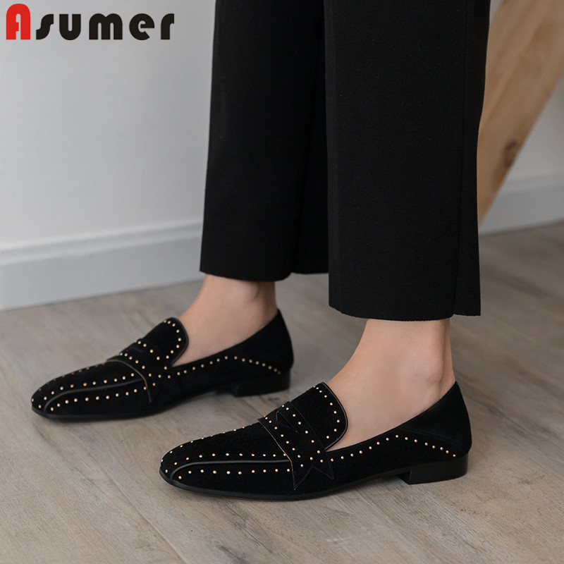 ASUMER square toe Casual flats women suede leather shoes women rivet spring autumn shoes comfortable ladies