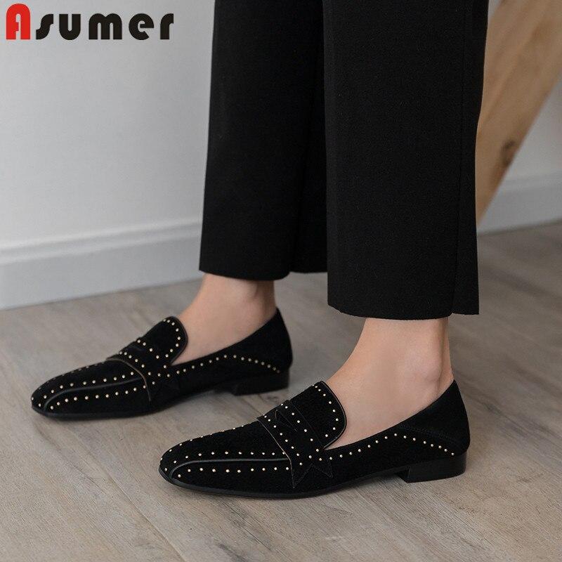 ASUMER bout carré décontracté appartements femmes daim cuir chaussures femmes rivet printemps automne chaussures confortables dames à plat avec des chaussures 2019-in Chaussures plates femme from Chaussures    1