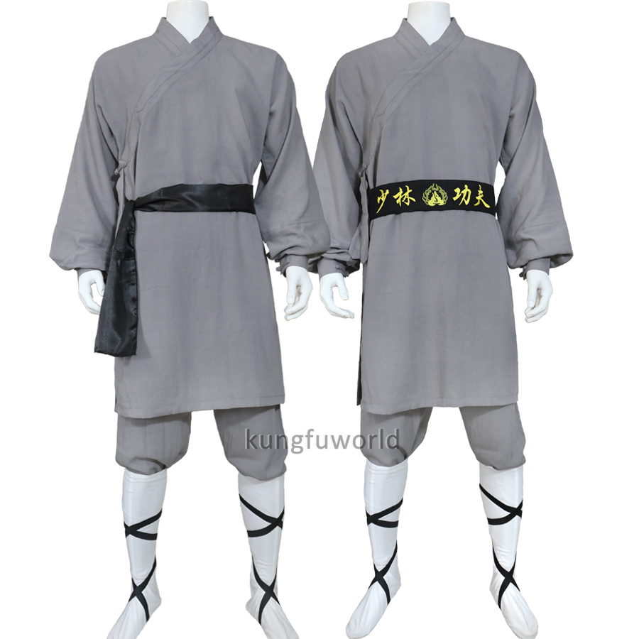 High Quality Dark Gray Linen Shaolin Monk Robe Kung fu Uniform Tai chi Suit Martial arts Clothes top quality winter shaolin kung fu uniform martial arts suit buddhist lay monk meditation clothes