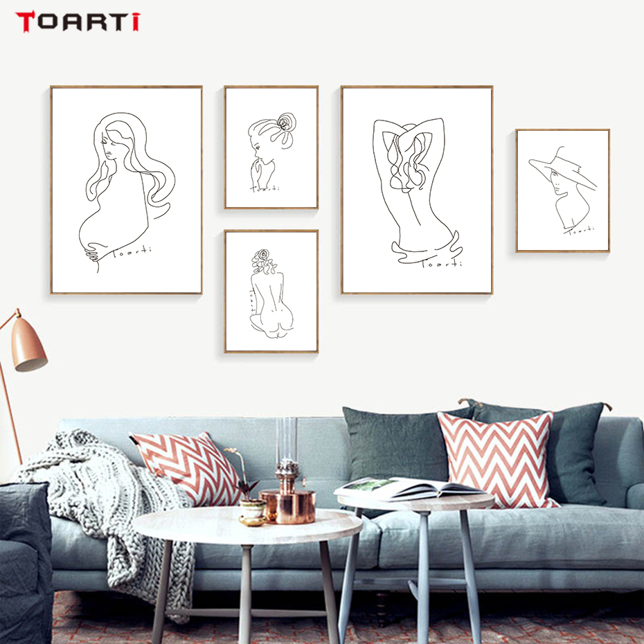 Modern Sexy Woman Body Wall Art Painting Abstract Minimalist Line Drawing Nordic Posters&Prints Bedroom Home Decoration Pictures