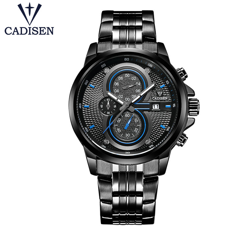 Relogio masculino Luxury CADISEN Quartz Men Watch Stainless steel Military Army Fashion Sports watches Waterproof Wristwatch цена и фото