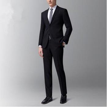 9c59102f9 Los hombres por encargo negro lana mezclada novio trajes de boda esmoquin  de alta calidad de vestido del baile de fin de curso del padrino trajes  (chaqueta ...