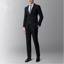 Männer anzüge kundenspezifische schwarze wolle gemischt bräutigam hochzeit anzüge smoking hohe qualität groomsman prom kleid anzüge (jacke + pants)