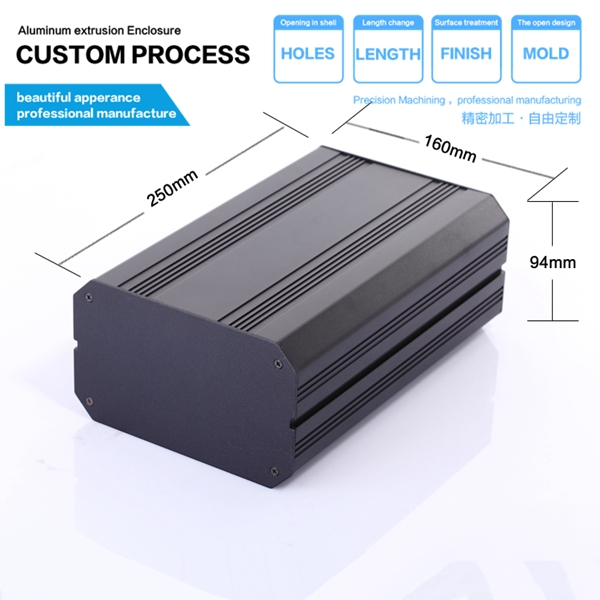 160*94-250mm (WxHxL) New Aluminum Project Box Enclosure Case Electronic DIY Case 4pcs a lot diy plastic enclosure for electronic handheld led junction box abs housing control box waterproof case 238 134 50mm
