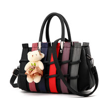 Vintage Women Messenger Bag Luxury Patchwork Designer Leather Handbags High Quality Cute Bear Women Leather Tote Shoulder Bag
