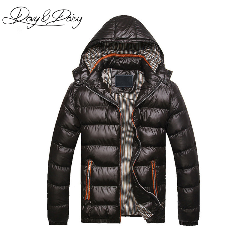 DAVYDAISY Men Parkas Winter Jacket Men Slim Fit Padded Casual Hooded Thicken Warm Coat Outerwear Brand Clothing DCT-057