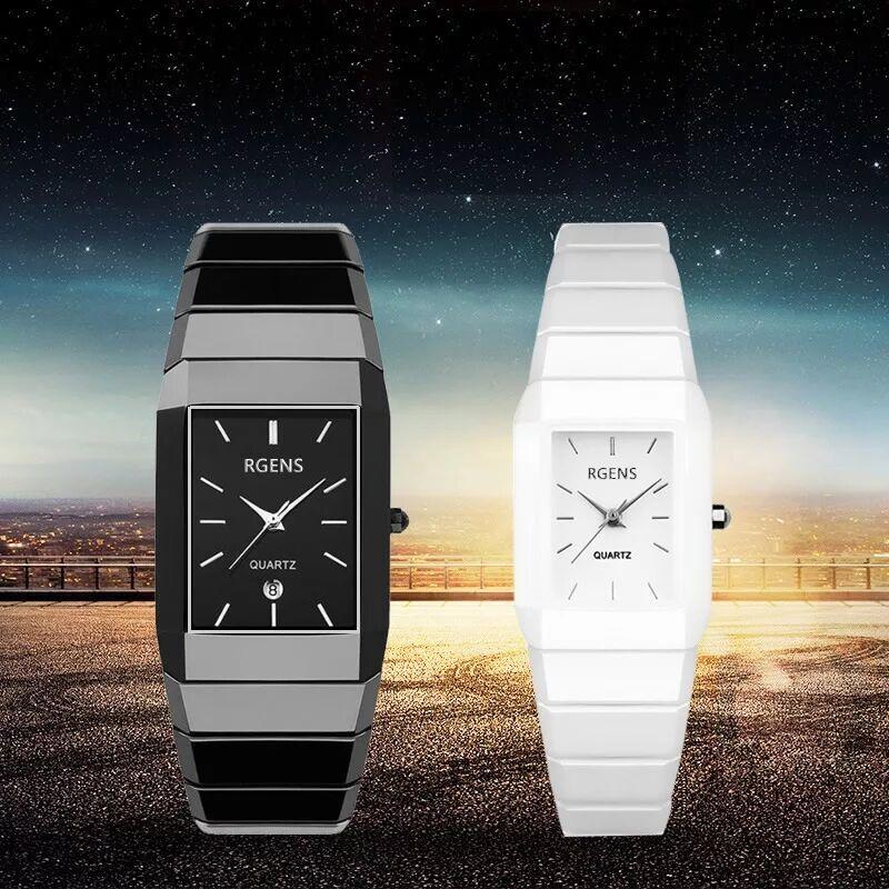 Loves Wristwatches Black White Ceramic Quartz Square Mens Womens Watches Waterproof RGENS Brand Official Couple Man Woman Clocks