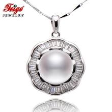 цена Hot Sale Women's 925 Sterling Silver Necklace Pendant,10-11mm Natural Freshwater White Pearls Necklaces & Pendants в интернет-магазинах