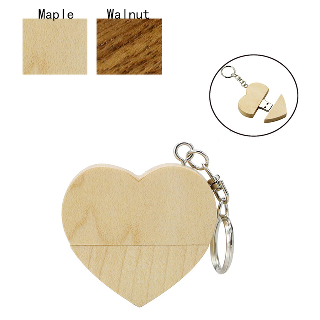 Full Capacity wooden Heart Pen Drive USB Flash Drive64GB 32GB 16GB 8GB 4GB Pendrive U Stick USB 2.0 Memory Stick wedding gift