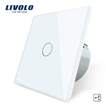 Livolo ЕС стандартный настенный выключатель 2 Way Управление Сенсорный экран переключатель, с украшением в виде кристаллов Стекло Панель, 220-250 V, ...